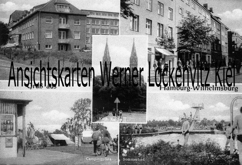 Ansichtskarte Hamburg-Wilhelmsburg Veringstraße mit Post Sommerbad Campingplatz Krankenhaus