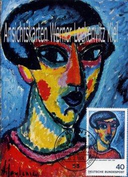 Maximumkarte Alexej von Jawlensky Kopf in Blau Deutscher Expressionismus