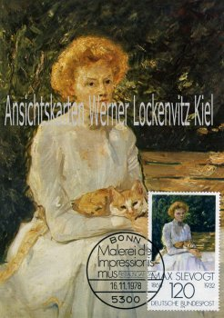 Maximumkarte Max Slevogt Dame mit Katze Malerei des Impressionismus