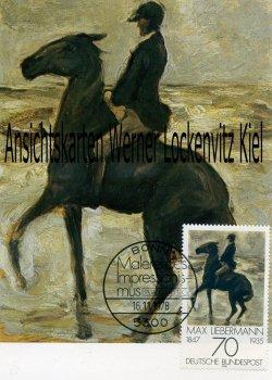 Maximumkarte Max Liebermann Reiter nach links am Strand Malerei des Impressionismus