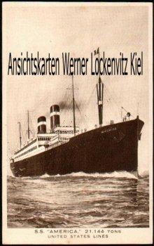 Ansichtskarte USA S. S. America United States Line Dampfer