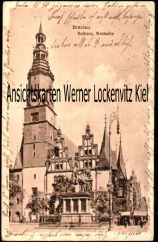 Ansichtskarte Polen Breslau Wroclaw Rathaus Westseite