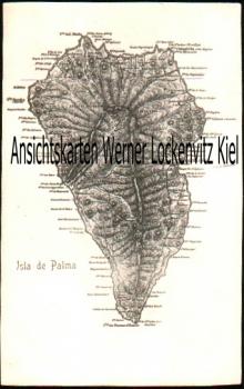 Ansichtskarte Postal Spanien España Gran Canaria Isla de Palma Landkarte map