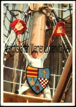 Ansichtskarte Matrose mit Flaggen Flaggengast Wappen Flaggensignale