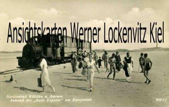 Ansichtskarte Wittdün auf Amrum Ankunft des Bade Express am Kniepsand