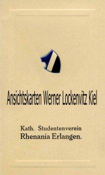 Einladungskarte Kath. Studentenverein Rhenania Erlangen Unterhaltungskränzchen Studentica Wappen