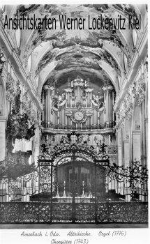 Ansichtskarte Abteikirche mit Orgel und Chorgitter in Amorbach