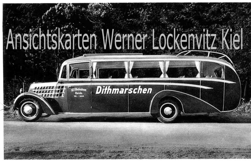 Ansichtskarte Heide in Holstein Omnibusbetrieb von Karl Friedrich Bielenberg Reiseomnibus