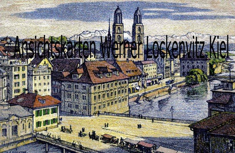 Ansichtskarte Schweiz Zürich Rathaus und Grossmünster Künstlerkarte sign. E. E. Schlatter