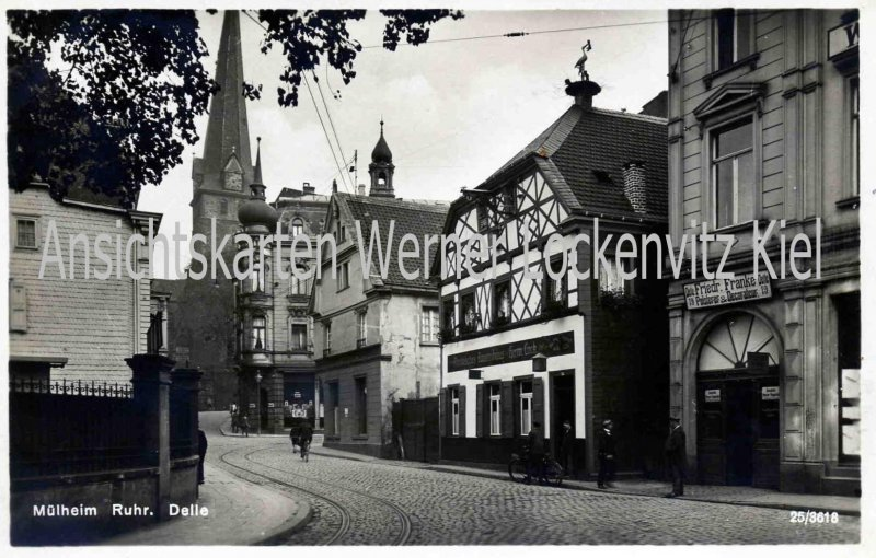 Ansichtskarte Mülheim an der Ruhr Delle mit Geschäft von Polsterer und Dekorateur Friedr. Franke
