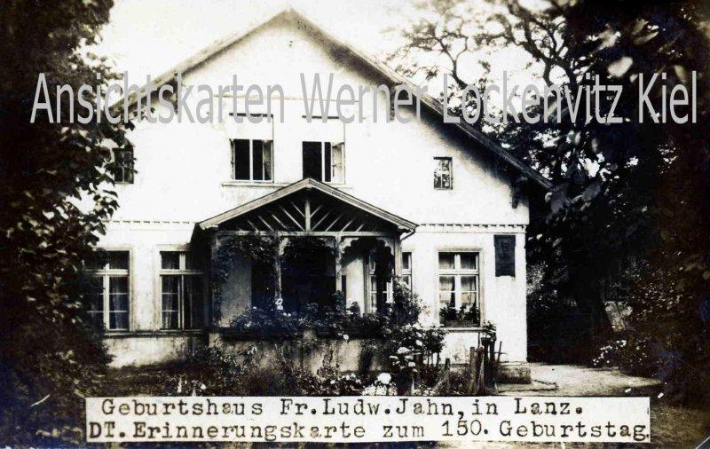 Ansichtskarte Lanz Lenzen-Elbtalaue Prignitz Geburtshaus Fr. Ludw. Jahn