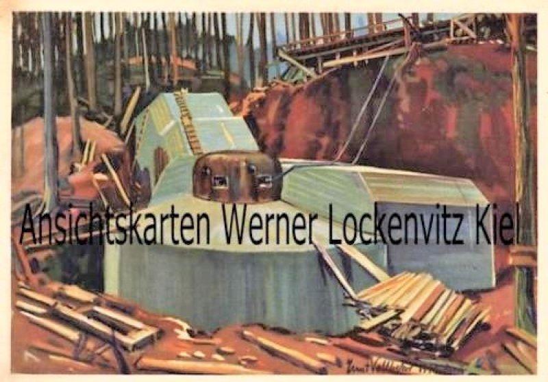 Ansichtskarte Grosser Panzerkuppelbau am Westwall von Ernst Vollbehr