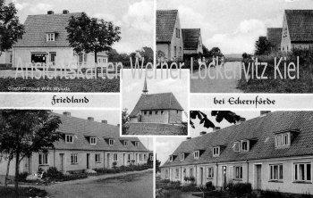 Ansichtskarte Windeby-Friedland Ortsansichten mit Geschäftshaus von Wilhelm Wyluda