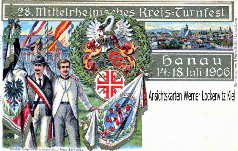 Ansichtskarte Hanau am Main 28. Mittelrheinisches Kreis-Turnfest Prägedruck