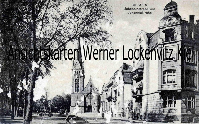 Ansichtskarte Gießen Johannisstraße mit Johanniskirche
