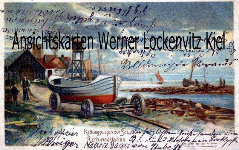 Ansichtskarte Rettungswesen zur See Rettungsstation Halt gegen Licht Seerettung