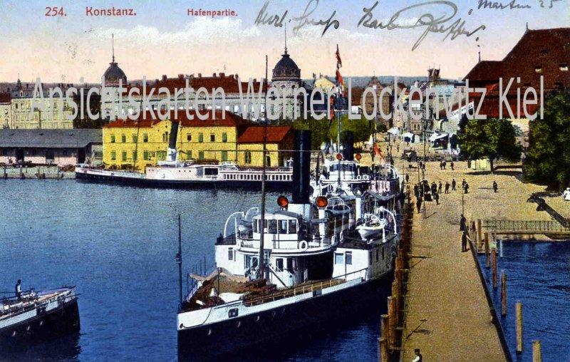 Ansichtskarte Konstanz Hafenpartie Dampfer