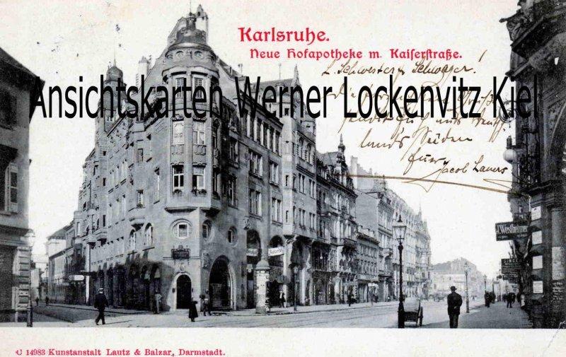 Ansichtskarte Karlsruhe Neue Hofapotheke mit Kaiserstraße
