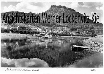 Ansichtskarte Königstein Sächsische Schweiz mit Dampfer Pirna