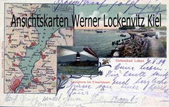 Ansichtskarte Laboe Landkarte Kiel Strandweg Kai Leuchtturm