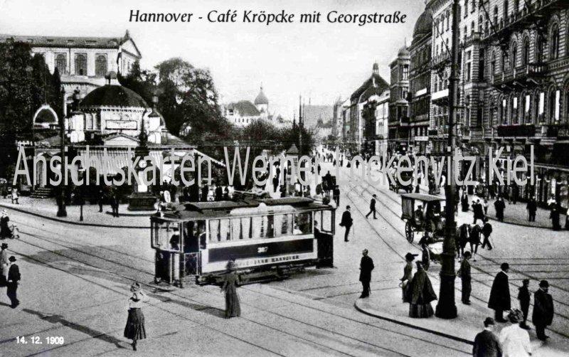 Ansichtskarte Hannover Cafe Kröpcke mit Straßenbahn