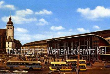 Ansichtskarte Hauptbahnhof in Köln mit Doppeldeckerbus