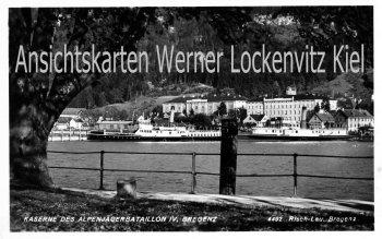 Ansichtskarte Bregenz Kaserne des Alpenjägerbataillon IV. Schiffe