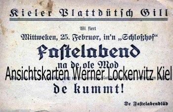 Postkarte Kiel Einladungskarte Kieler Plattdütsch Gill Plattdeutsch Fastnacht Karneval