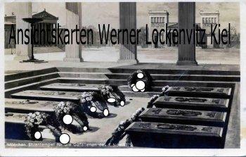 Ansichtskarte München Ehrentempel für die Gefallenen des 9. November mit Postwerbestempel Rundfunk-Ausstellung Berlin