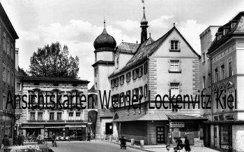 Ansichtskarte Rosenheim Straßenansicht mit Radio-Baumann und Wollkammerei