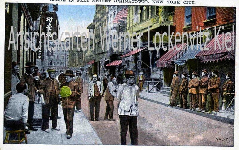 Ansichtskarte USA New York Scene in Pell Street Chinatown