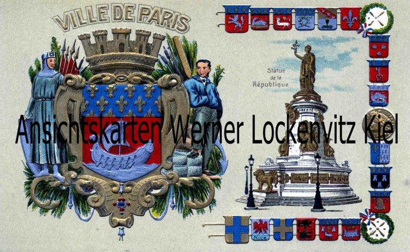 Ansichtskarte Carte Postale Frankreich France Ville de Paris Wappen Prägedruck
