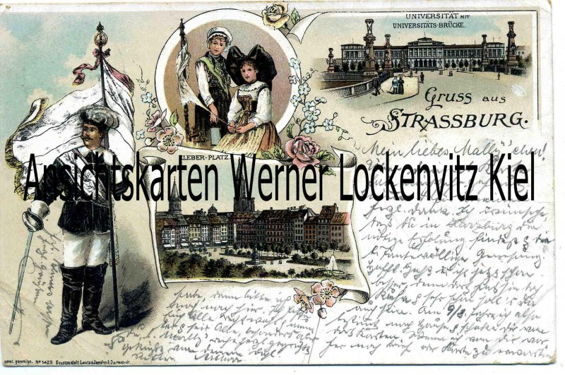 Ansichtskarte Carte Postale Frankreich France Strassburg Tracht Student Universität Litho