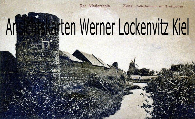 Ansichtskarte Dormagen-Zons Krölschenturm und Mühle
