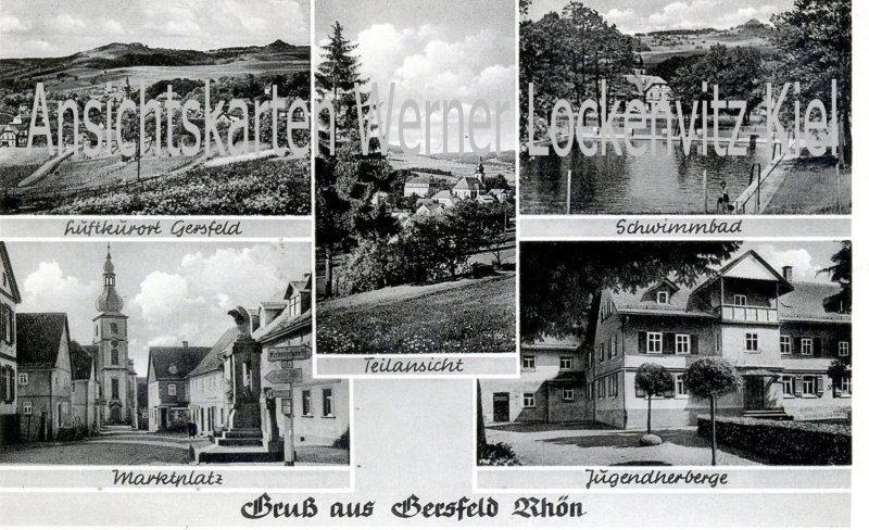 Ansichtskarte Gersfeld Rhön Schwimmbad Marktplatz Jugendherberge