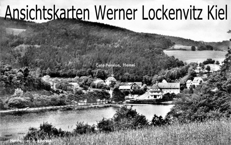 Ansichtskarte Herzhausen-Vöhl Ortsansicht mit Cafe-Pension Hamel
