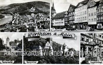 Ansichtskarte Wertheim am Main Markt Engelsbrunnen Ortsansicht