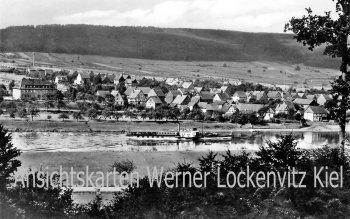 Ansichtskarte Reinhardshagen-Vaake Ortsansicht mit Dampfer