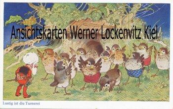 Ansichtskarte Lustig ist die Turnerei Vögel turnen Zwerg Fritz Baumgarten