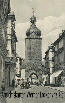 Ansichtskarte Coburg Judengasse und Turm Hausschild Deutsche Arbeitsfront