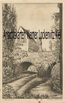 Ansichtskarte Bensheim Bergstraße Mittelbrücke Künstlerkarte sign.