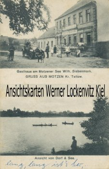Ansichtskarte Mittenwalde-Motzen Gasthaus am Motzener See Bes. Wilh. Siebenmark