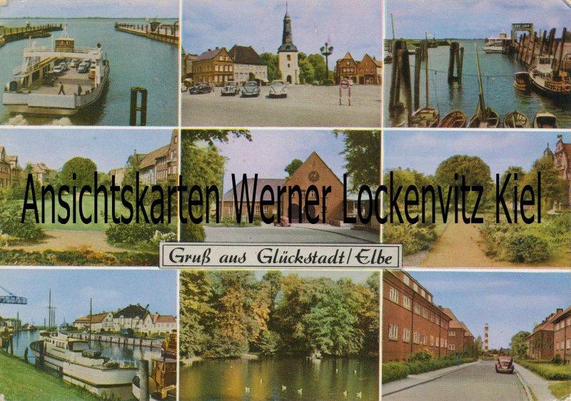 Ansichtskarte Glückstadt Elbe Bahnhof Markt Straße Fähre