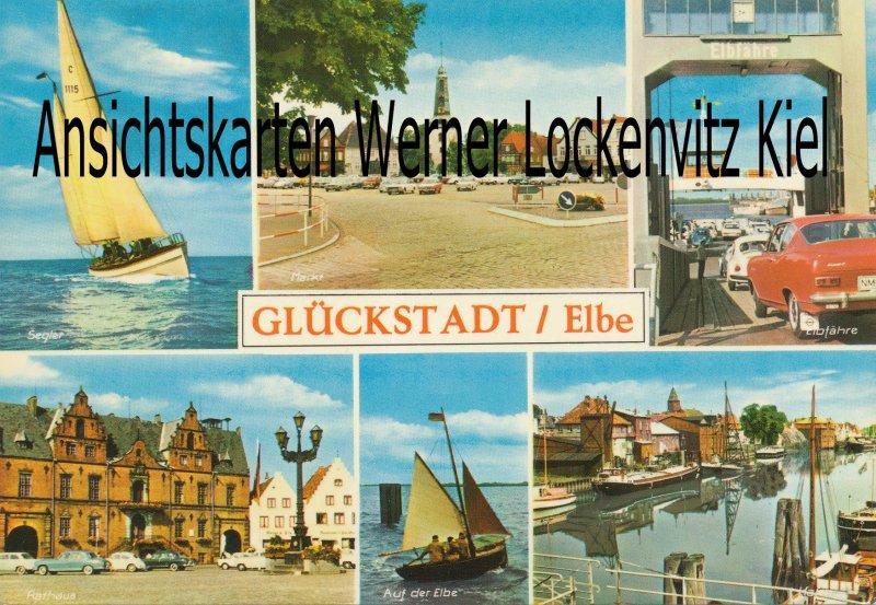 Ansichtskarte Glückstadt Markt Autofähre Segler
