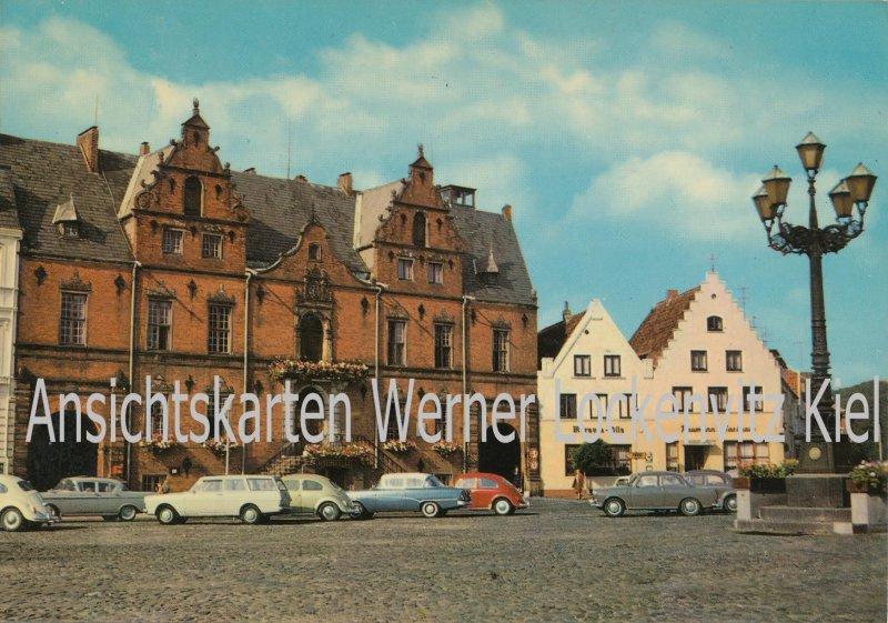 Ansichtskarte Glückstadt Rathaus und Raumanns Gasthof