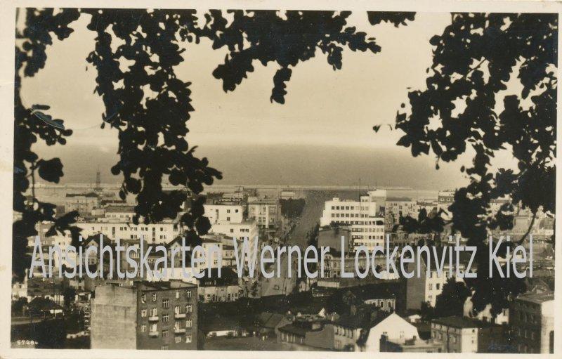 Ansichtskarte Polen Danzig Gotenhafen Gdynia Ortsansicht Briefstempel Schulboot Nordsee