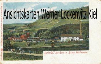 Ansichtskarte Polen Rückers Szczytna Bahnhof und Burg Waldstein
