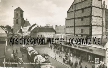 Ansichtskarte Berlin-Spandau Carl-Schurz-Straße mit Nicolaikirche