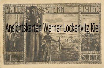 Ansichtskarte Kriegs Ostern 1916 Heil und Sieg sign. Hans Kämmerling