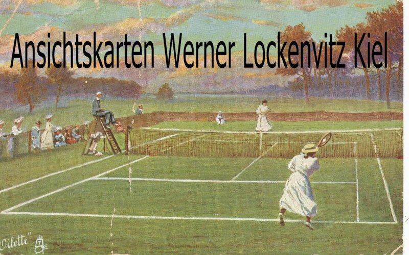Ansichtskarte Serie Lawntennisspieler Frauen spielen Tennis